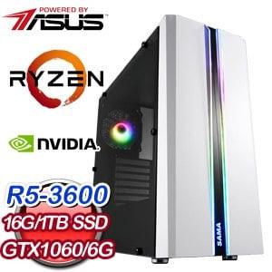 華碩 電玩系列【五郎棍法】AMD R5 3600六核 GTX1060 娛樂電腦(16G/1TB SSD)