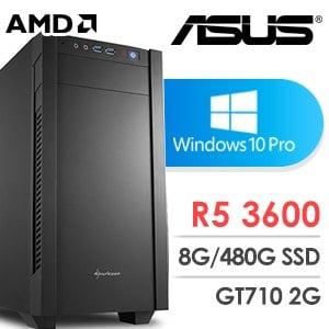 華碩 電玩系列【暴食頭槌】AMD R5 3600六核 GT710 娛樂電腦(8G/480G SSD/Win 10 Pro)