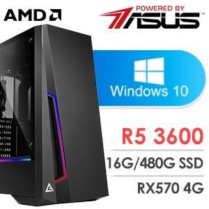 華碩 電玩系列【真空之刃】AMD R5 3600六核 RX570 娛樂電腦(16G/480G SSD/WIN 10)