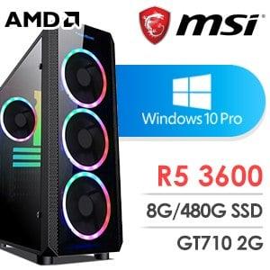 微星 電玩系列【熾烈發進】AMD R5 3600六核 GT710 娛樂電腦(8G/480G SSD/Win 10 Pro)