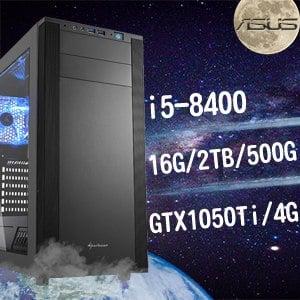 華碩 電玩系列【傳說對戰II】i5-8400六核 GTX1050TI 娛樂電腦(16G/500G SSD/2TB) ★送東元定時立扇