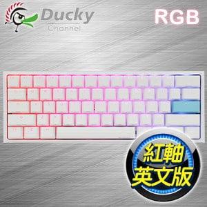 Ducky 創傑 One 2 Mini 白蓋紅軸 RGB機械式鍵盤《英文版》