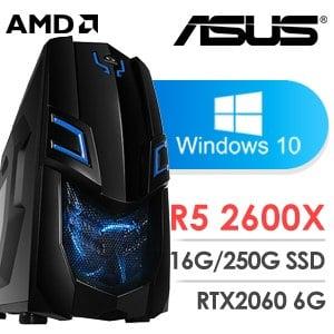 華碩 電玩系列【荒豹雷刀II-Win 10】AMD R5 2600X六核 RTX2060 超頻電腦(16G/250G SSD/Win 10)
