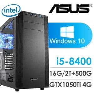 華碩 電玩系列【傳說對戰II-Win 10】i5-8400六核 GTX1050TI 娛樂電腦(16G/500G SSD/2TB/Win 10)