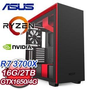 華碩 電競系列【赤鳳朱焰】AMD R7 3700X八核 GTX1650 超頻電腦(16G/2TB)