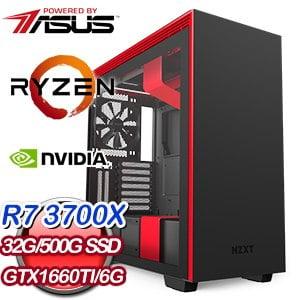 華碩 電競系列【藍蝶毒霧】AMD R7 3700X八核 GTX1660Ti 超頻電腦(32G/500G SSD)