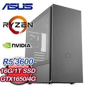 華碩 電玩系列【墨痕八舞】AMD R5 3600六核 GTX1650 娛樂電腦(16G/1T SSD)