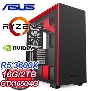 華碩 電玩系列【焚世魔炎】AMD R5 3600X六核 GTX1650 超頻電腦(16G/2TB)