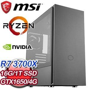 微星 電競系列【冰火雙極】AMD R7 3700X八核 GTX1650 超頻電腦(16G/1T SSD)