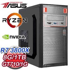 華碩 電競系列【理財24號機】AMD R7 3800X八核 GT710 超頻電腦(8G/1TB)