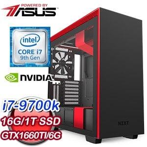 華碩 電競系列【逸騎刃擊】i7-9700K八核 GTX1660Ti 超頻電腦(16G/1T SSD) ★送AX58BT無線網卡