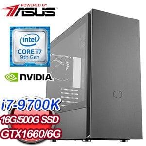 華碩 電競系列【暗影的逆襲】i7-9700K八核 GTX1660 超頻電腦(16G/500G SSD) ★送AX58BT無線網卡