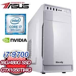 華碩 電競系列【決勝女王I】i7-9700八核 GTX1050Ti 遊戲電腦(16G記憶體/480G SSD)