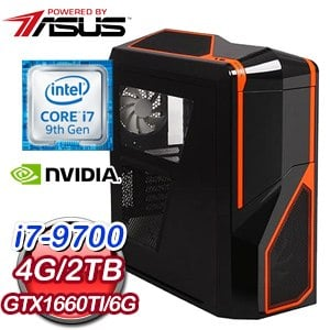 華碩 電競系列【長空破雲I】i7-9700八核 GTX1660TI 遊戲電腦(4G/2TB)