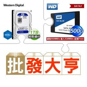 WD 藍標 1TB硬碟(X10)+WD 藍標 500G SSD(X5)