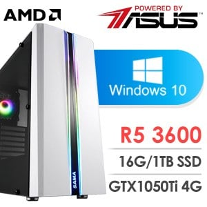 華碩 電玩系列【生死之輪I】AMD R5 3600六核 GTX1050Ti 娛樂電腦(16G/1TB SSD/WIN 10)
