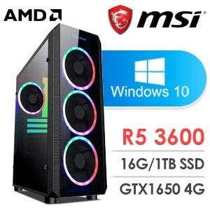 微星 電玩系列【哥薩克肌肉I】AMD R5 3600六核 GTX1650 娛樂電腦(16G/1TB SSD/WIN 10)