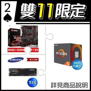 ☆雙11★ AMD R5 2600 處理器+微星 B450 GAMING PLUS 主機板+三星 970 EVO Plus 1TB M.2 PCIe SSD