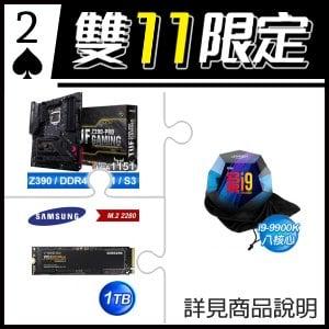 ☆雙11★ i9-9900K 處理器+華碩 TUF Z390-PRO GAMING 主機板+三星 970 EVO Plus 1TB M.2 PCIe SSD