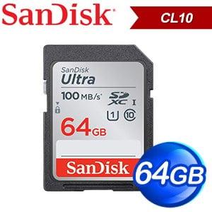 SanDisk 64GB Ultra SDXC Class10 記憶卡(100MB/s)
