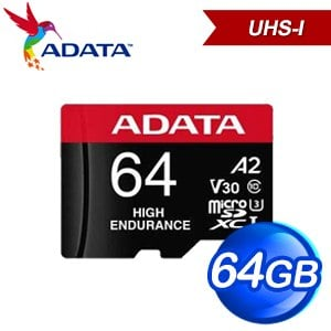 ADATA 威剛 64G High Endurance MicroSDXC UHS-I(V30) A2 U3高速記憶卡(100M/80M)