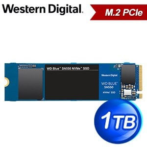WD 威騰 SN550 1TB NVMe M.2 PCIe SSD(讀:2400M/寫:1950M/TLC)《藍標》WDS100T2B0C