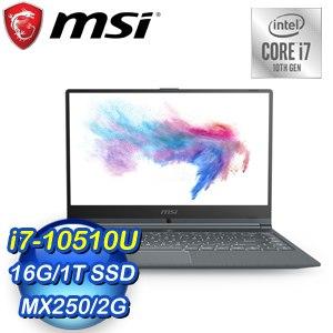 MSI 微星 Modern 14 A10RB-831TW 14吋輕薄創作者筆電(i7-10510U/16G/1T SSD/MX250-2G/Win10Pro)