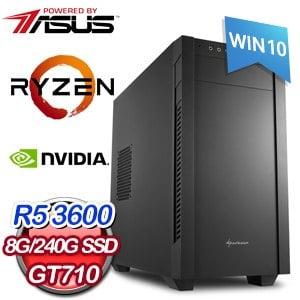 華碩 電玩系列【絕對零度II】AMD R5 3600六核 GT710 娛樂電腦(8G/240G SSD/WIN 10)