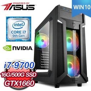 華碩 電競系列【神速聖將-Win 10】i7-9700八核 GTX1660 遊戲電腦(16G/500G SSD/Win 10)