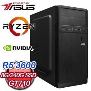 華碩 電玩系列【美人計II】AMD R5 3600六核 GT710 娛樂電腦(8G/240G SSD)