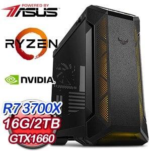 華碩 電競系列【赤鳳朱焰I】AMD R7 3700X八核 GTX1660 超頻電腦(16G/2TB)