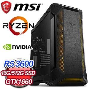 微星 電玩系列【惡雷沖霄I】AMD R5 3600六核 GTX1660 娛樂電腦(16G/512G SSD)