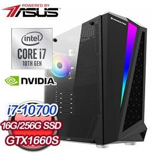 華碩 電競系列【十萬火急】i7-10700八核 GTX1660S 遊戲電腦(16G/256G SSD)