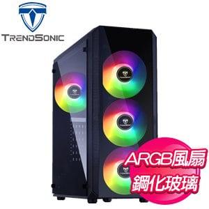 TrendSonic 翰欣【MARS】玻璃透側 ATX電腦機殼《黑》(內含12公分炫光風扇*4)