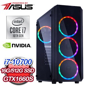 華碩 電競系列【十指連心M】i7-10700八核 GTX1660S 遊戲電腦(16G/512G SSD)