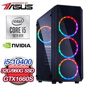 華碩 電玩系列【碧血狂殺M】i5-10400六核 GTX1660S 娛樂電腦(32G/960G SSD)