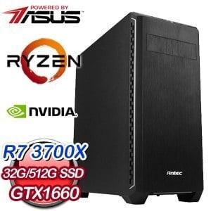 華碩 電競系列【模擬世界】AMD R7 3700X八核 GTX1660 超頻電腦(32G/512G SSD)