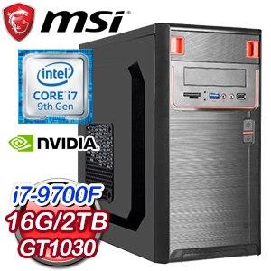 微星系列【八卦符兵陣】i7-9700F八核 GT1030 電競電腦(16G/2T)