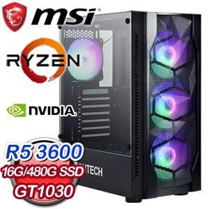 微星系列【蓮華斬舞】AMD R5 3600六核 GT1030 電玩電腦(16G/480G SSD)