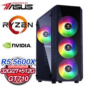 華碩系列【冰風暴】AMD R5 5600X六核 GT710 電玩電腦(32G/512G SSD/2T)