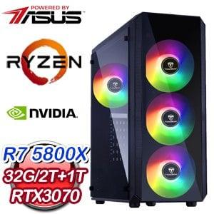 華碩系列【天空之城】AMD R7 5800X八核 RTX3070 電競電腦(32G/1T SSD/2T)