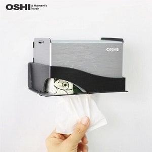 【OSHI歐士】Box plus+ 面紙盒架 銀黑色小/DIY/下抽式面紙架/衛生紙架/衛生紙盒/無痕免鑽孔