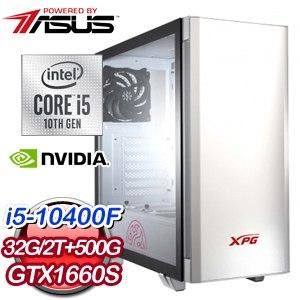 華碩系列【鐵拳風襲】i5-10400F六核 GTX1660S 電競電腦(32G/500G SSD/2T)