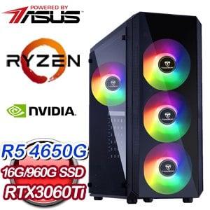 華碩系列【碎月斬】AMD R5 4650G六核 RTX3060Ti 電玩電腦(16G/960G SSD)