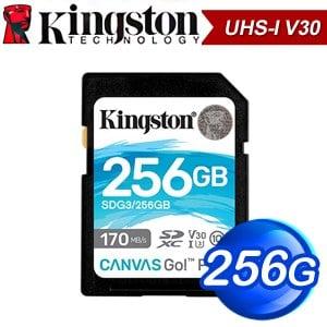 Kingston 金士頓 Canvas Go! Plus 256GB SDXC UHS-I V30 記憶卡(R170MB/W90MB) SDG3/256GB