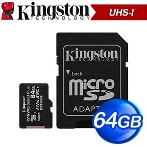 Kingston 金士頓 Canvas Select Plus 64GB MicroSDXC UHS-I 記憶卡(R100MB) SDCS2/64GB
