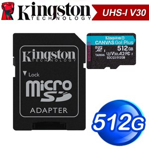 Kingston 金士頓 Canvas Go! Plus 512GB MicroSDXC UHS-I V30 記憶卡(R170MB/W90MB) SDCG3/512GB