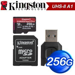 Kingston 金士頓 Canvas React Plus 256GB MicroSDXC UHS-II A1 記憶卡(R285MB/W165MB)