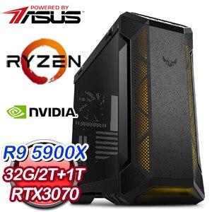 華碩系列【火焰衝擊】AMD R9 5900X十二核 RTX3070 電競水冷電腦(32G/1T SSD/2T)