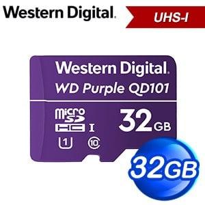 WD 威騰 紫標 MicroSDHC QD101 32GB 高耐寫監控記憶卡(WDD032G1P0C)